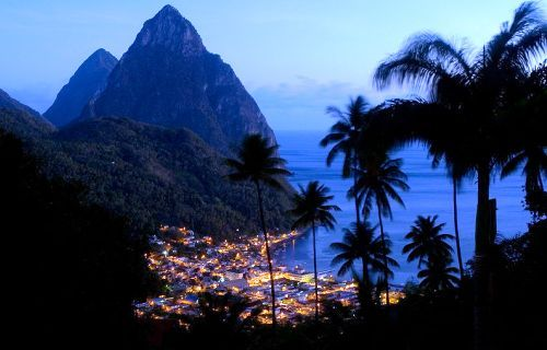 ethanwearsprada:  The city of Soufriere and the Piton mountains on the island of St. Lucia in early evening.