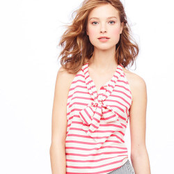 wantering:  J. Crew Silk Bow Cami in Stripe