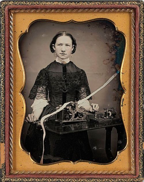 "ca. 1850's, [daguerreotype occupational portrait of a telegraph operator]  ""When Samuel Morse used an electrical telegraph to send the message ""What Hath God Wrought"" in May, 1844 from Washington, D.C. to Baltimore, Maryland, he transformed communication in the United States. By the end of the Civil War, the telegraph had become the means by which information was transmitted long, as well as short distances.""  via Cowan's Auctions"