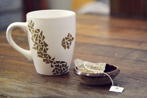 DIY embellished dollar store mug via oh, hello friend: you are loved.