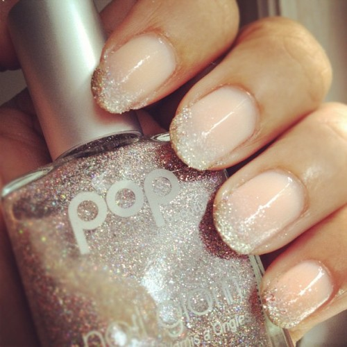 "Weekly Nails: Sparkling Tips! For this look I coated my nails with neutral/clear polishes and then sponged OPI's ""Princesses Rule"" and POP Beauty's ""Twenty Nine Twinkle"" nailpolish on the tips."