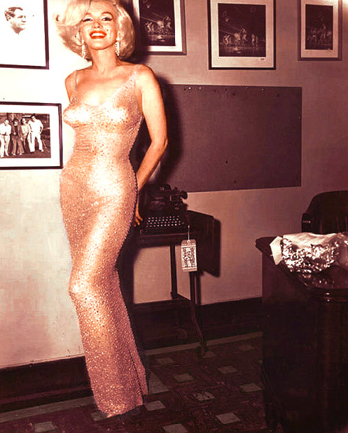 msmarilynmonroe:  Marilyn Monroe wearing Jean Louis 2500 rhinestone gown, that she wore when she famously sung 'Happy Birthday…Mr President' to JFK at Madison Square Garden, May 29th 1962. first picture of her i've reblogged