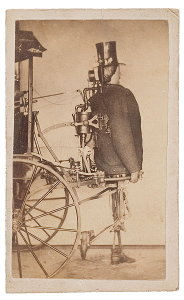 ca. 1870's, [carte de visite patent model portrait of a steam-powered android attached to a wheeled cart], Geo. O. Bedford's Park Gallery via Cowan's Auction