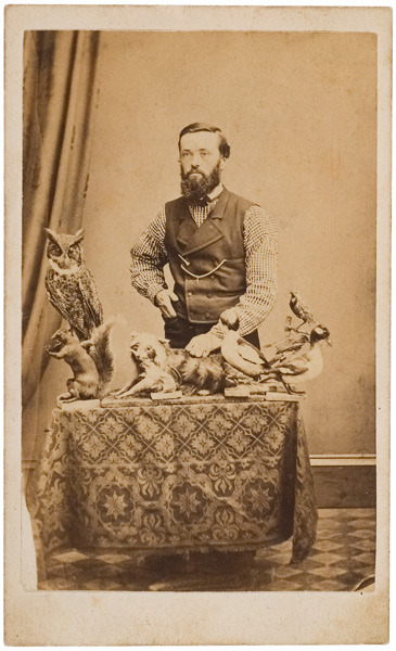 ca. 1860's-80's, [carte de visite occupational portrait of a taxidermist with his animals] via Cowan's Auctions