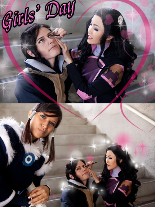 AHAHAH One of my favorite shots!! Asami does Tahno's eyeliner!Tahno and Korra is us! (aicosu) Asami is the gorgeous sushi-monster!Thanks to Boo Radlus for the photo!