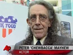 collectemall:  I had to post this picture. Is it just me or has Peter Mayhew actually come to believe that he really is Chewbacca? Is that hair-cut the wookiee mullet? I dunno….  Peter Mayhew rules. That is all.