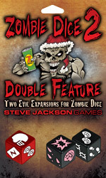 "Zombie Dice, by Stephen Jackson Games, is a dice based game in which you and your friends play as brain hungry zombies, and each of the 13 dice are your victims. You roll all the dice and try to eat 13 brains before you are shotgunned! I have included an episode of Wil Wheaton's ""Table Top"" at the end of this post, should you like to know more about Zombie Dice. This expansion gives you 3 more dice that you can substitute in for some of the dice that come with your original Zombie Dice set to allow you to play the game differently. As you see in the picture, the three new dice consist of a white on black die (referred to as ""The Hunk""), a pink on black die (referred to as ""The Hottie"") and a white on red die (referred to as Santa Clause). These are meant to comprise three different play styles. Read the Full Review on the CoinOpKids Site —->"