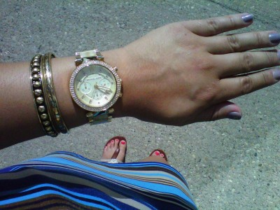 Sucha MK whurr Gold Ivory encrusted bling blang ex boyfriend type watch