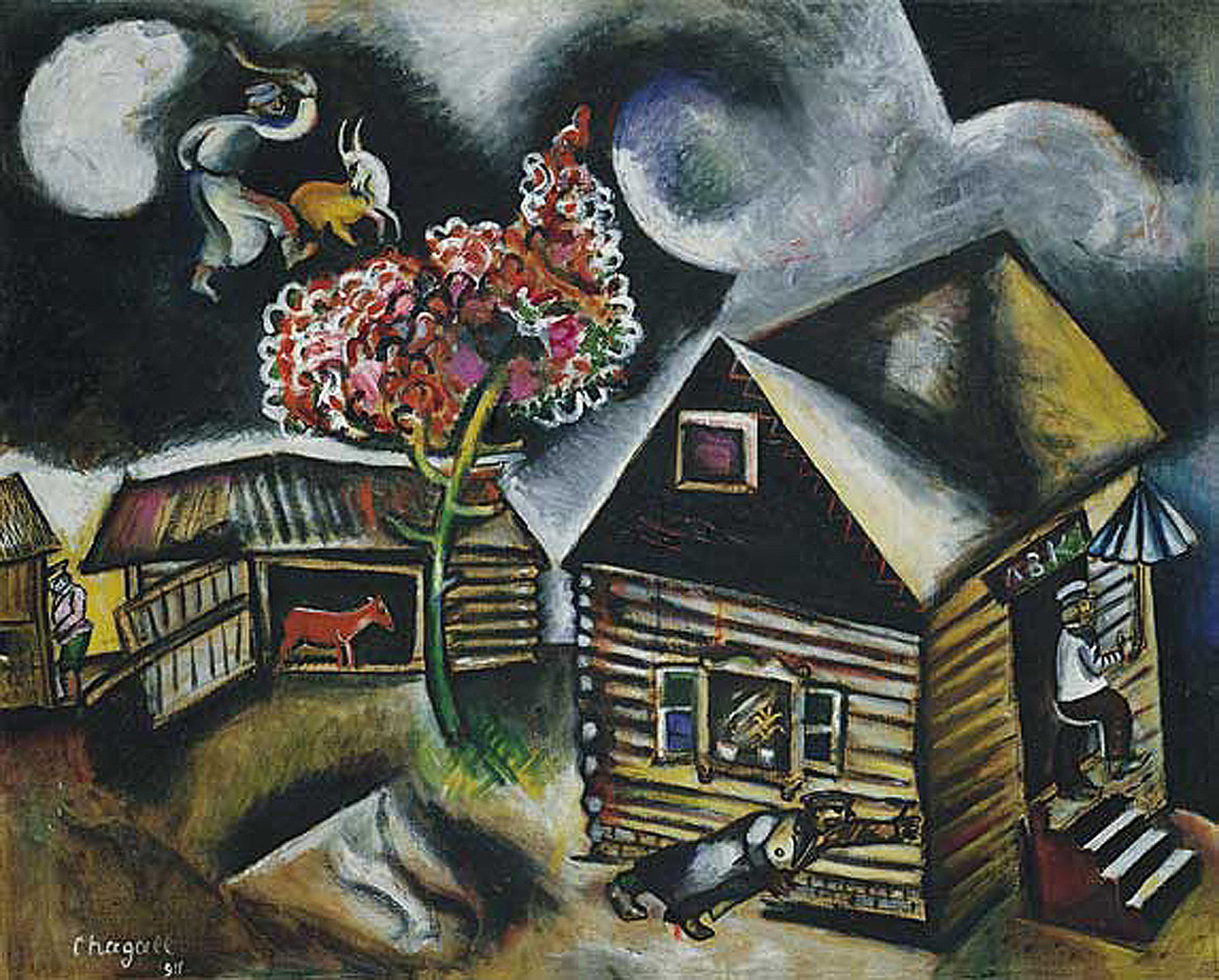 "Happy birthday Marc Chagall, born this day in Russia 1887. It was in Paris, surrounded by other artists, that he really began to develop his style. Though he was homesick and could not speak French, he later said, ""My art needed Paris like a tree needs water."" Chagall is known for bright and complex colors, and his fantastical images from Russian-Jewish folklore and his childhood: ghosts, livestock, weddings, fiddlers, scenes of his village Vitebsk, a couple floating in the sky, and fish."