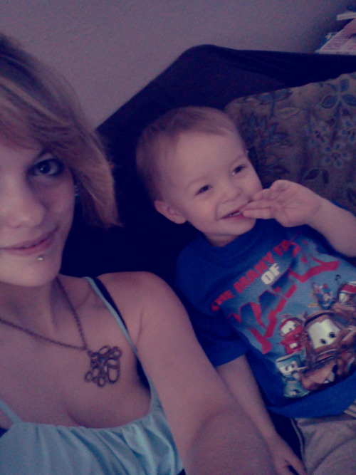 Vincent's Spongebob party is today :] He's still very sick but we got a smile out of him <3 He's lovin' all the toys! And his new Mater shirt.