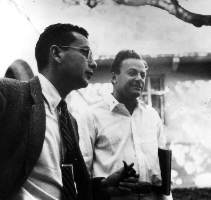 "Uncredited Photographer     Theoretical Physicists Murray Gell-Mann and Richard Feynman   1959 ""…will you understand what I'm going to tell you? …No, you're not going to be able to understand it. …I don't understand it. Nobody does…. The scale of light can be described by numbers—called the frequency—and as the numbers get higher, the light goes from red to blue to ultraviolet. We can't see ultraviolet light, but it can affect photographic plates. It's still light… Light is something like raindrops—each little lump of light is called a photon—and if the light is all one color, all the 'raindrops' are the same color… Every instrument that has been designed to be sensitive enough to detect weak light has always ended up discovering that the same thing: light is made of particles…"" Richard Feynman, ""QED : The Strange Theory of Light and Matter"" 1985 ""Just because things get a little dingy at the subatomic level doesn't mean all bets are off."" Murray Gell-Mann"