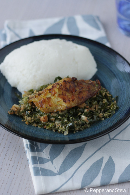Nshima with Fisashi/Ifisashi (greens in peanut sauce) and griddled tilapia fish.
