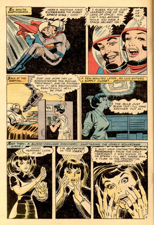 Curt Swan draws Lois Lane, radioactive nurse! In the late 60s, Curt Swan was assigned thicker, inkier inkers that, unfortunately, lost some of the detailing that fine-line or feathery inkers would capture, although this page seems to be not too overwhelmed by this style of inking.  This page from Superman's Girlfriend, Lois Lane 98 was inked by George Roussos, better known as George Bell and one of Jack Kirby's inkers at Marvel.
