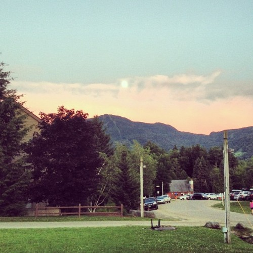 #sunset #mountains #vermont #moon #clouds #sky #trees #grass #cars (Taken with Instagram)