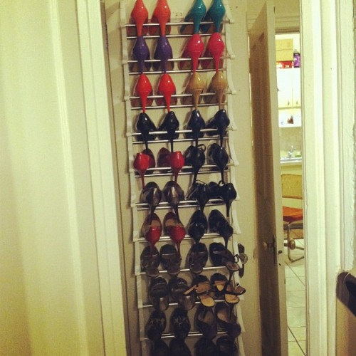 lyssamae:  This shoe rack was part of the unfucking that Steven did so my shoes weren't all over the place. (Also, Michael Antonio Love Me pumps in nude, fuchsia, navy blue, and black came in yesterday!) (Taken with Instagram)  Can I have your shoes? Holy poop.