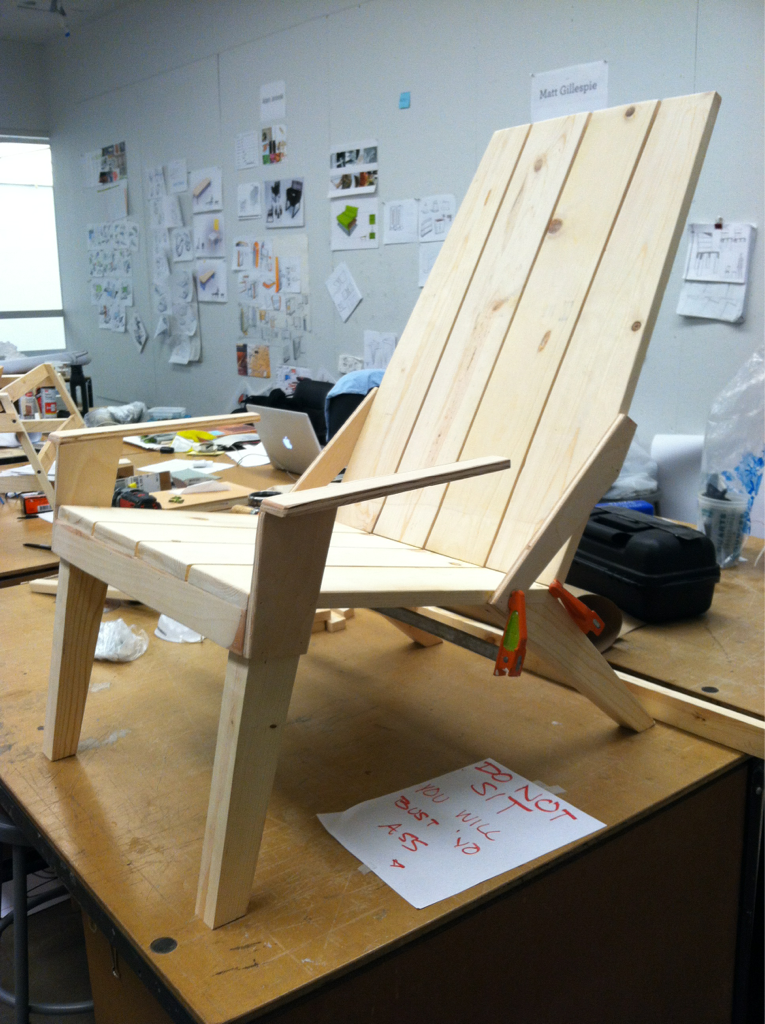 idreamofindustrialdesign:  Chair full size scale model almost done -nina