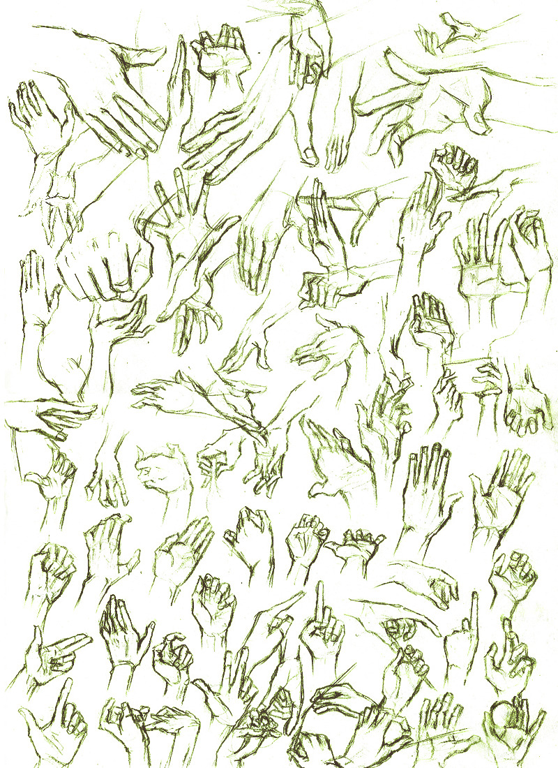 artslam:   Day 1 by krusca Jumping into this late, here's some hands I mastercopied cause I suck at drawing hands.