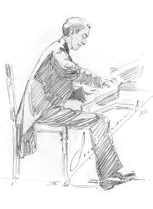 leadingtone:  Sketch of Rachmaninoff, signed by the composer. Drawn by Hilda Wiener, Brussels, 1933.