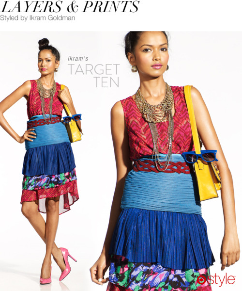 targetstyle:  Ikram's Target 10: Layers & Prints own it now: floral skirt. blue skirt. yellow bag. pumps. red dress. earrings. necklace. belt. (shop in store)