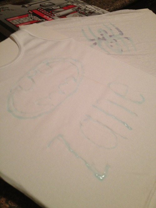 I babysat tonight and decided it would be fun to make blue glue shirts with my buddy Zane! He did batman and I did spiderman. His is going to be black and blue (as per his orders) and I think mine will be black or red.  :)