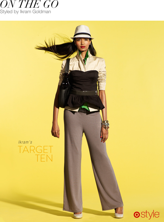 Ikram Goldman's Target 10: On the Go own it now: black bustier top. button up shirts. gray jumper. handbag. heels. belt and watches (shop in store).