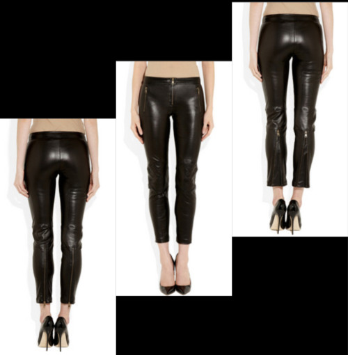 Paneled leather skinny pants by Alexander McQueen