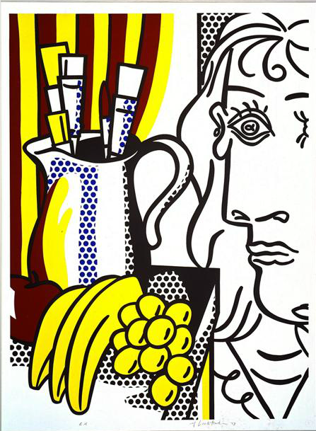fivewordsinaline:   Still Life with Picasso Roy Lichtenstein 1973