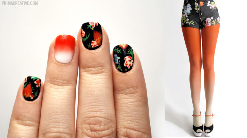 primacreative:  NAIL DID : Floral + Gradient Manicure Inspired by : BZR Ombre Tights in Sunset