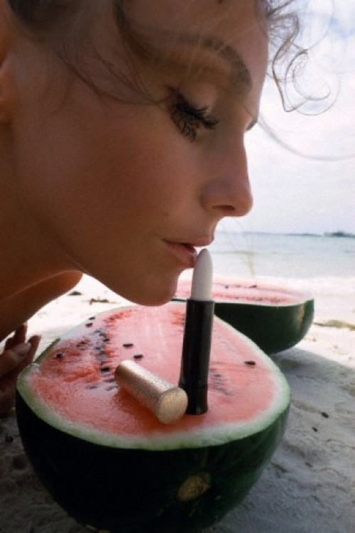 Model Beata Schulz in a lipstick advertisement at Miami Beach, 1968. Photo by William Helburn.