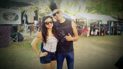 Hootenanny 2012. c: this guy wanted to take a picture with me! I said of course because his hair was cool ^.^