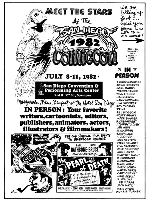 30 years ago today: Ad for San Diego Comic-Con, 1982.* See next post for more.