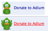 Adium - When hovering the donate link, the bird raises its wings. /via dmedvinsky