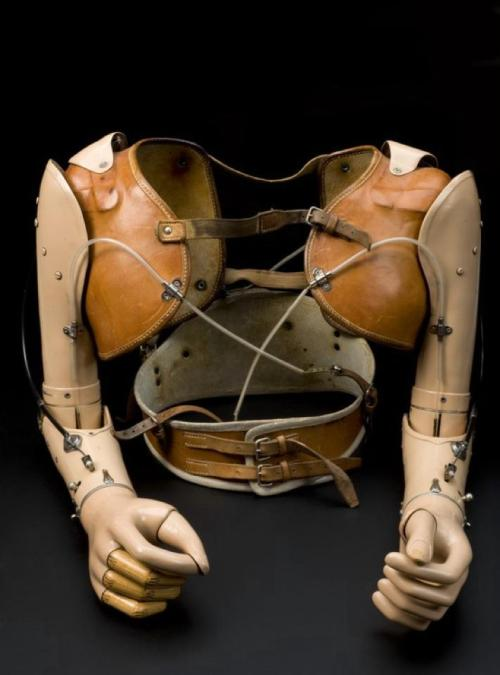 miss-givings:  Upper limb prostheses, made for a 17 year-old boy in 1959  This is one of the more beautiful pieces I've come across. -S.