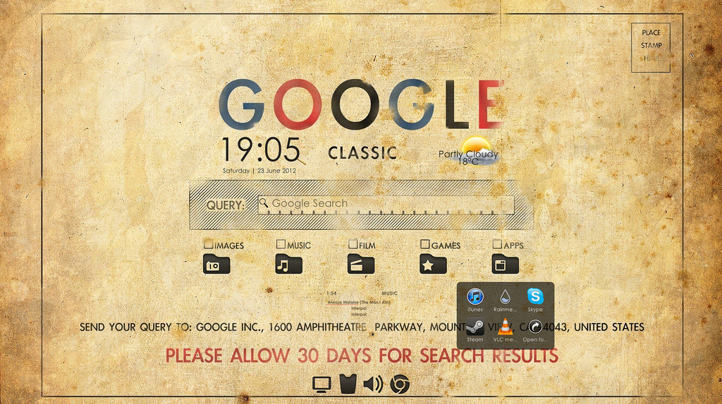 "The Retro Google Desktop Harkening back to the days when searching Google meant sending in a postcard and waiting for the subsequent results to be delivered in a manilla envelope to your door (okay, that never happened), Flickr user HoaxCap put together this retro Google desktop that despite its old school looks is packed with useful features. Bonus: it's easy to configure. Want the same look for your Windows desktop? It's easy. [[MORE]]Here's what you'll need: The wallpaper from Desura (the original was at previously mentioned Desktoppr, but it's down for maintenance) The Rainmeter system management and configuration utility for Windows The Pricedown Rainmeter Clock for the date and time The Date, Time, and Weather Skin Final for Rainmeter for the weather The iTunes for Illustro Rainmeter utility for media player control on the desktop The GoogleBar utility for Rainmeter to turn the Google ""search bar"" on the wallpaper into an actual Google search bar StarDock's ObjectDock to get the checkboxed folders in the center in the desktop RocketDock to replace the Windows taskbar at the bottom of the screen The Stacks Docklet to make the folders in the center of the screen spring-loaded, so clicking on them brings up a bubble with icons of the items inside Have to admit, this is one of the most creative featured desktops we've featured, partially because of how it turns a witty wallpaper into a really functional and useful workspace that's fun to use. The components are easy enough to set up, but if you have trouble transforming your desktop into a retro Google terminal, head over to HoaxCap's Flickr page to ask how he did it."