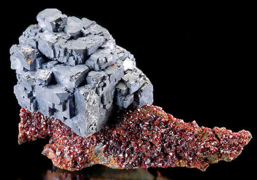 Galena on Rubyjack Sphalerite on Chert  Ballard Mine, Baxter Springs, Picher Field, Tri-State District, Cherokee County, Kansas.