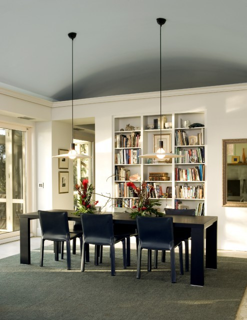 dyingofcute:  modern dining room with a home library