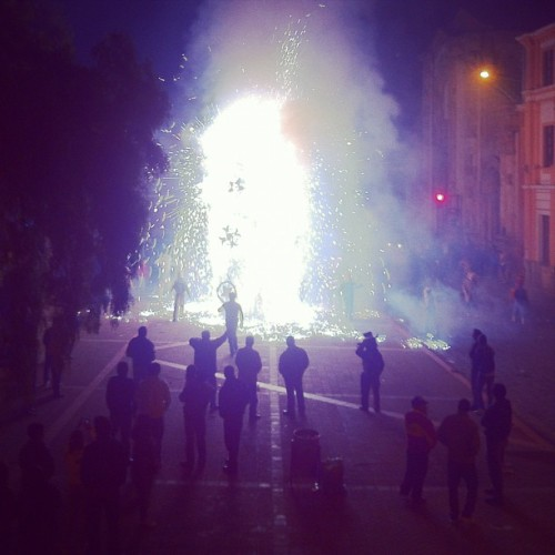 burning a castle in #cuenca (Taken with Instagram at Plaza San Blas)