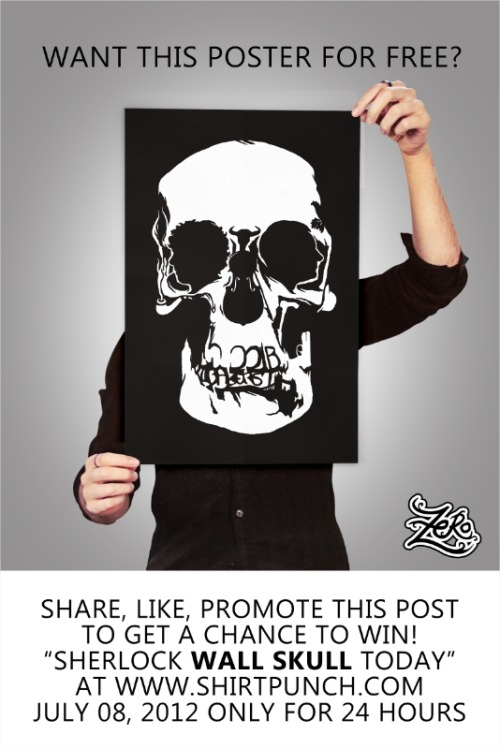 zerobriant's amazing Sherlock 'Wall Skull' T-shirt design is on sale for today only over at www.shirtpunch.com, and if you want to be in with a chance of winning a Sherlock Wall Skull poster like the one pictured above all you have to do like and share this post from zerobriantdesigns.tumblr.com!
