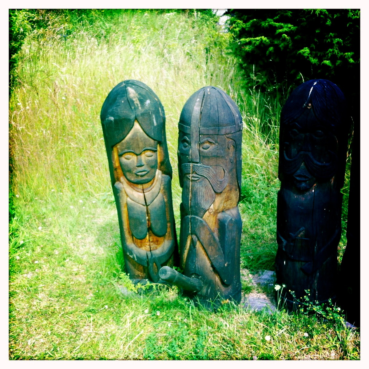 Wooden totems at the Viking village, scene of many awkward family conversations.