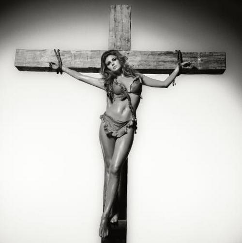 Raquel Welch crucified for 'One Million Years B.C.', 1968.