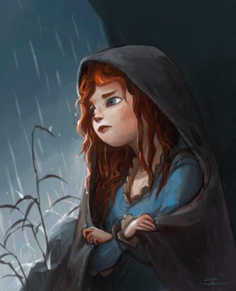 I watched Brave recently and there was a scene that stuck with me. At Merida's low point, she sits in a cave in the rain and reflects the mess she was in. As opposed to her typical puffy hair, we got to see her hair getting wet in this scene and it's one of the rare times in the movie where her hair isn't so flashy and over-powering. Her hair is muggy, stranded, and deformed from its glory. I think Merida's hair was a great device that reflected her mental state. Good design!