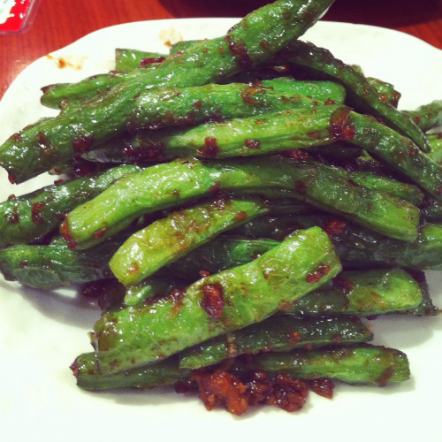 Hongkong food: French bean stir fried in shanghai sauce