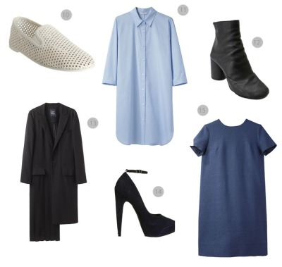 what-do-i-wear:  10 Stella McCartney loafers 11 Tome shirtdress 12 Margiela boots 13 Limi feu jacket 14 Theyskens theory pumps 15 Charles Anastase dress (image: vanillascented)