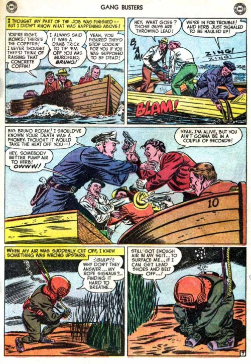 Curt Swan draws a boat-to-boat fight six-person gun-and-fist-fight! From Gangbusters 17.