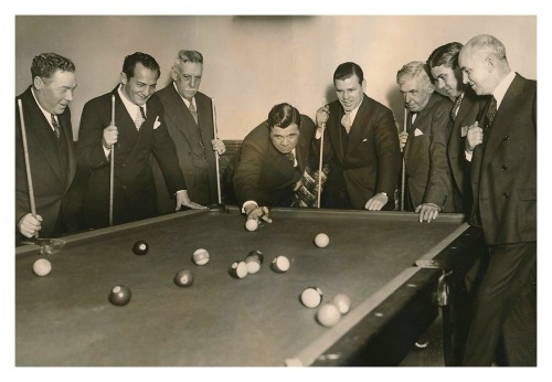 The Babe Calls His Shot Babe Ruth and friends playing pool - 1920's