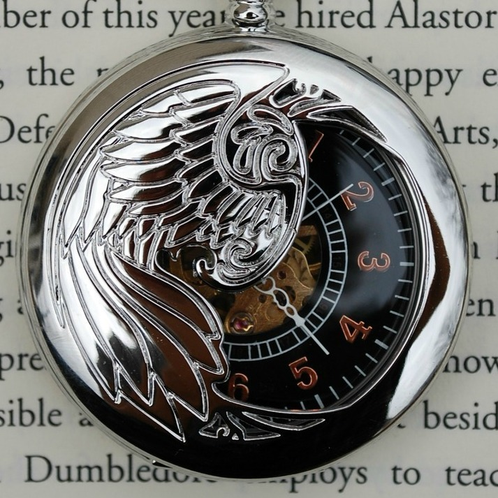 Silver Winged Wind-Up Pocket Watch