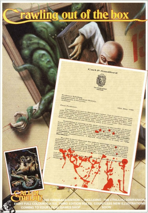 Advert for Games Workshop UK printing of Call of Cthulhu from White Dwarf 80, August 1986.