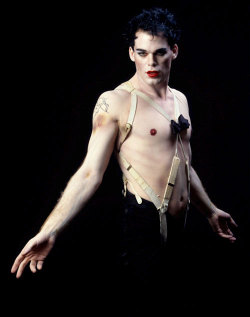 "fymagazinebygweninterrupted:  F. Y. Magazine: Michael C. Hall as the pansexual party boy Emcee in Cabaret. 500 shows on Broadway. Michael is best known these days as ""Dexter"" but he also starred on the show ""Six Feet Under"" as a repressed, gay undertaker named David Fisher. The show lasted 5 seasons, and it was amazing. I recommend that everyone find it and watch it."