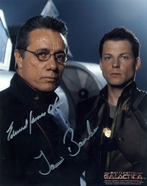 Adama & Apollo buddy shot, signed by Edward James Olmos and Jamie Bamber.
