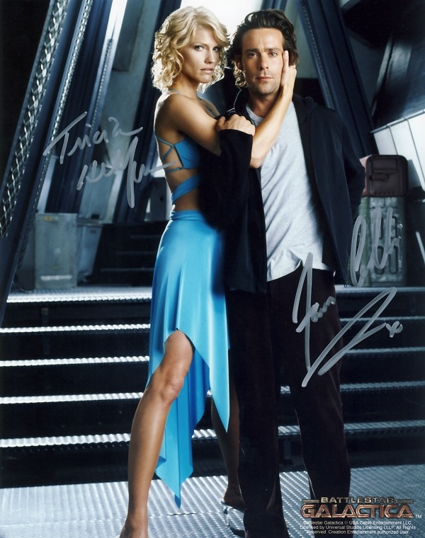 Number Six & Gaius Baltar buddy shot, signed by Tricia Helfer and James Callis.